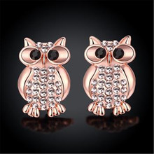 Rose Color Stud Earrings Trendy Owl Fashion Jewelry Rectangle arrings For Women Eh121
