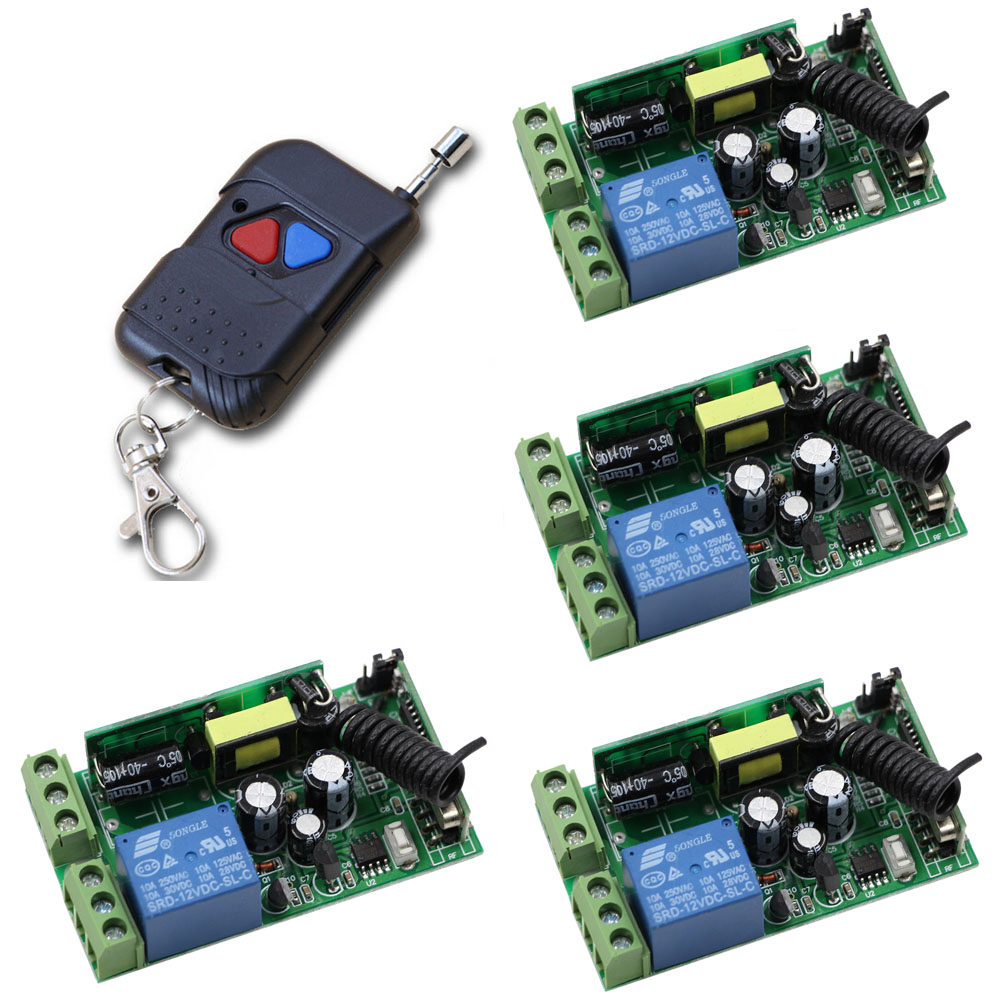 RF AC85V 110V 220V 250V 1CH Remote Control Switch 315mhz/433mhz Transmitter and 4*Receivers Learning Code Inter-lock Working<br>