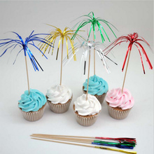 80pcs Color fireworks toothpick cocktail picks Fruit Toothpick dessert cake decorating tools wedding party supplies