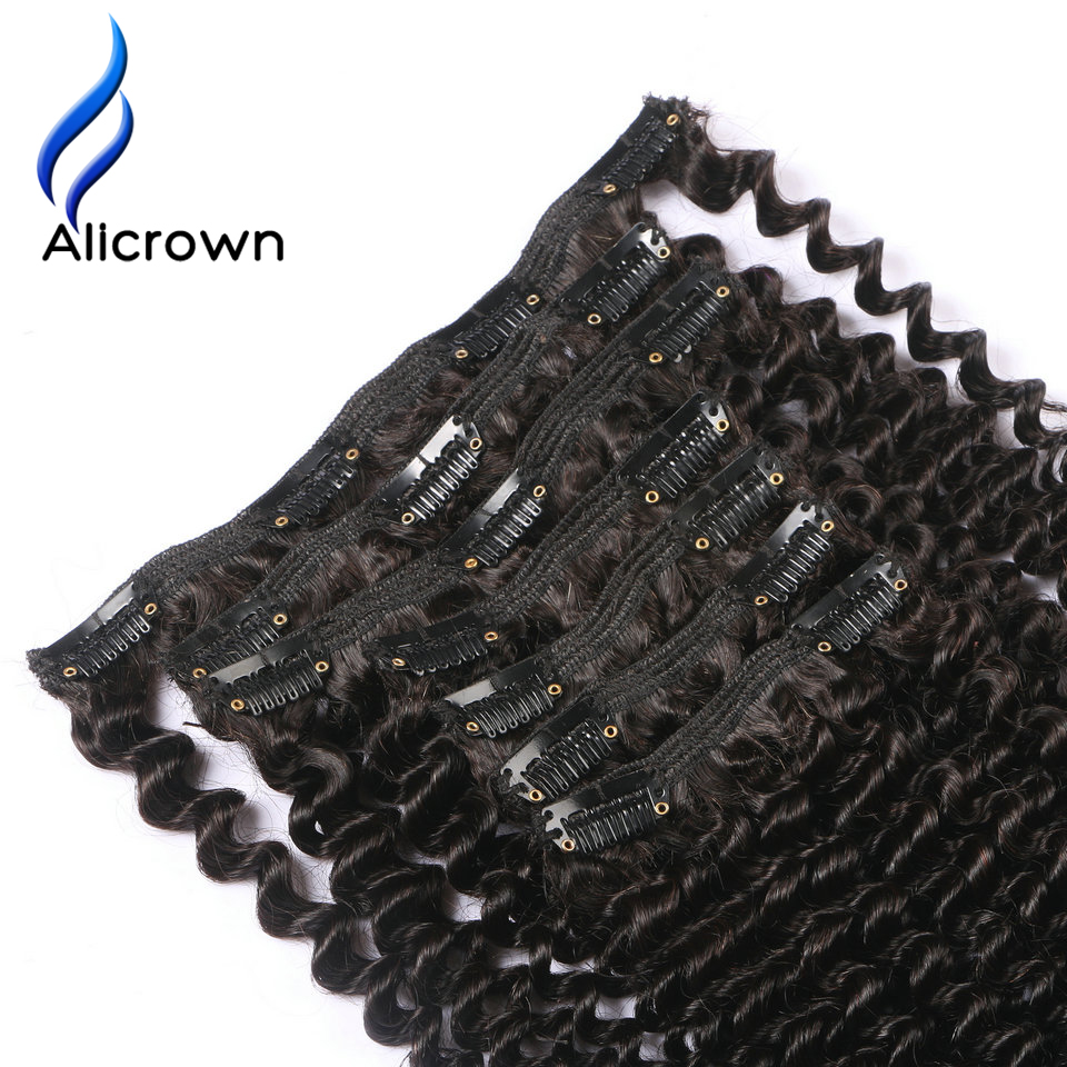 Alicrown Hair Kinky Curly Clip In Human Hair Extensions Full Head Natural Color Brazilian Remy Hair Clip In Hair Free Shipping