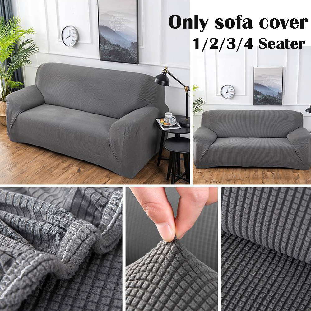 1//2//3//4 Sofa Couch Slipcover Stretch Covers Elastic Fleece Settee Protector Fit