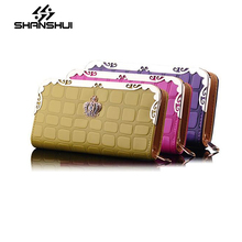 New Ladies Wallet Wholesale Manufacturers Lingge Long Section Of the Ticket Holder Crown Leather Embossed Hand Holding Handbags