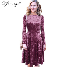 Vfemage Womens Autumn Winter Vintage Velvet Pockets Long Sleeve Work Party Evening Pleated Swing Fit and Flare A Line Dress 8341(China)
