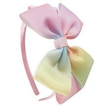 4 Inch Girls Rainbow Hairband Children's Gradient Colors Covered Headband with Grosgrain Ribbon Bow Handmade Hairbands Headdress(China)