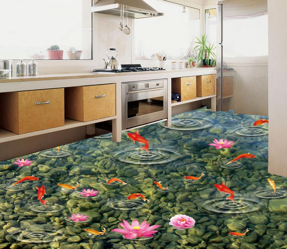 Home Decoration 3d customized wallpaper 3D gold fish water wave jade floor painting pvc floor wallpaper <br><br>Aliexpress