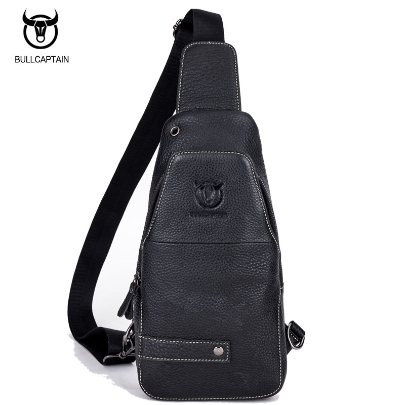 BULL CAPTAIN Men Genuine Leather Chest Crossbody Bag Casual Men Messenger Bag Retro Chest Waist Pack Zipper Sling Bag Travel Bag<br>