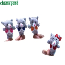 CHAMSGEND 4pcs Finger Hand Puppets Plush Toys For Kids Animal Cat Finger Gloves puppets baby reborn dolls  Education WOct1