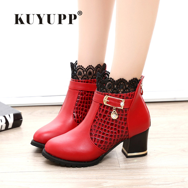 Square High Heel Boots Women Winter Shoes Leather Boots 2017 KUYUPP Round Toe Lace Ankle Ladies Shoes Wedding Botas Mujer DX123<br><br>Aliexpress