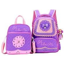fd72c23f513 Kant Mooie Kinderen schooltassen voor meisjes Mode Prinses school Rugzak  met satchel Kids boek tas waterdichte