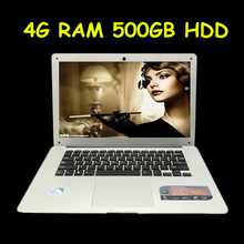 Free Shipping 14.1 inch ultrabook slim laptop computer In-tel J1900 2.0GHZ 4GB 500GB Windows7/8.1+ WIFI+HDMI+WEBCAM