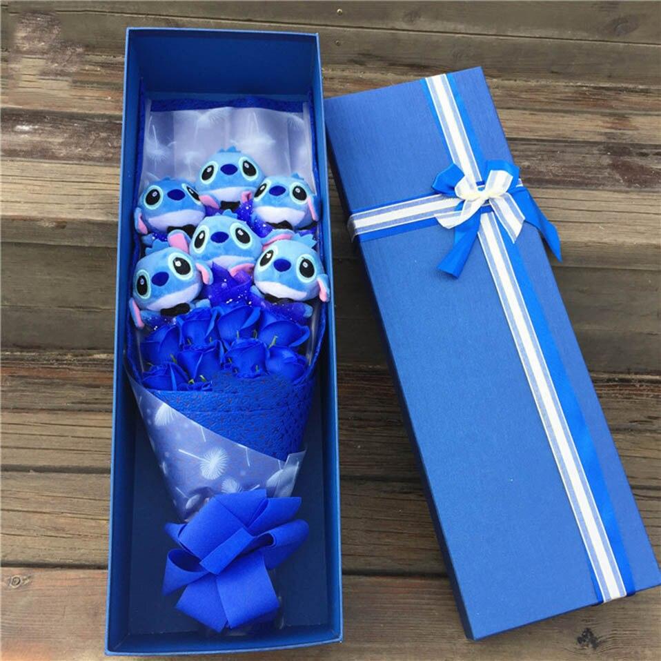 kawaii Stuffed Toys soft stitch bouquet plush stuffed animals toys gifts Artificial Lovely Cartoon Fake Flowers wedding decoration (1)