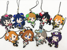 9pcs/Lot Japanese anime figure Love live Silicone mobile phone charms Action Figure Anime cell phone strap charm(China)
