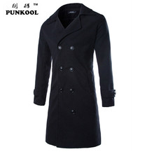 PUNKOOL New Fashion Men Wool Coat Winter Jackets Men Double-Breasted  Long  Pea Coats Men Wool Overcoat Men Trench Jacket