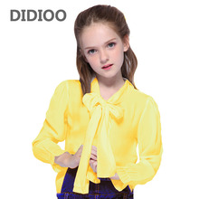Baby children's clothing 2017 spring big kids clothes long-sleeve chiffon school white & pink lace girls blouses children shirt(China)