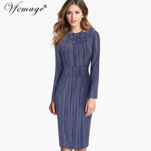 Vfemage Women Autumn Winter Long Sleeves Bow Elegant Tunic Slimming Wear to Work Business Party Sheath Bodycon Pencil Dress 7870