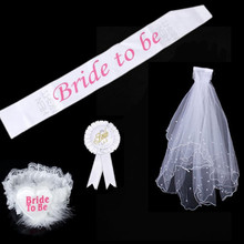 1 Set White Bride To Be Hen Night Bridal Shower Bachelorette Party Weeding Gift