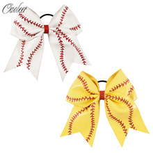 "2pcs/Lot 7""Girl Yellow White Softball Soft Leather Cheer Bow With Elastic Band Ponytail Holder Kids Sport Hair Accessories"