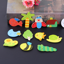 12pcs/pack Kitchen Wood Refrigerator Magnets Sticker Cartoon Home Decor Stickers Baby Kid Gift Toys
