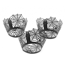 12Pcs/Lot Black Spider Net Cupcake Holder Cup Creative Paper Muffin Cake Holder Cup Wrapper Cake Decorating Baking Tools EZLIFE