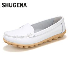 A SHUGENA New arrival women flats shoes female casual patent leather loafers slips leather white flat handmade shoes XYL0724A1(China)