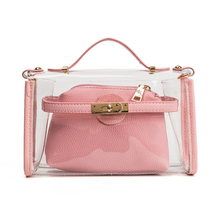 2017 High quality women messenger handbag tassel clutch transparent clear bag plastic leather bag day evening purse(China)