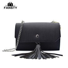 2017 Women Pu Leather Tassel Shoulder Bag Cheap Brand Designer Chain Cross Body Bag Fashion Small Casual Women Messenger Bags(China)