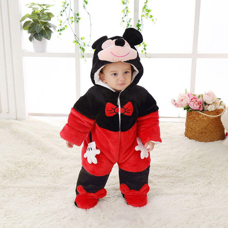 Cute Autumn Winter Cotton Polyester Baby Romper Long Sleeve Coverall Hooded Infant Jumpsuit Mickey Shaped One Piece for Toddler<br>