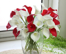 20pcs/lot PU Natural/Real Touch Mini Calla Lily Artificial Flowers for Home Decoration Wedding Bouquets (no vase)