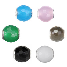 Thomas Black, Blue, Pink, Green, Brown, White Colors Bevelled Nature Stone Bead, 2015 TS Bead For Women Or Men(China)