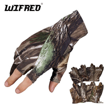 Wifreo Camouflage Fishing Gloves 3 fingers Cut light Anti Slip Camping Riding Gloves Carp Fishing for Spring Summer Autumn(China)