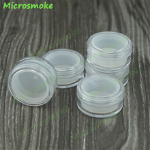 free DHL 200pcs/lot 5ml Plastic Container with Lids bho Silicone Container Wax Oil Clear and White Plastic jars OEM custom logo(China)