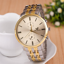 Best Buy Men Business Watch Alloy Case Golden Dial Mens Simple Watches Quartz Gold Wristwatch Metal Bracelet Men's Xfcs Fashion(China)