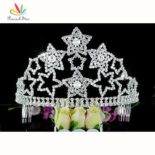 "Peacock Star Large Pageant Beauty Contest Party Star Sparkling Crystal Tall 4.5"" (11.5 cm) Tiara Crown CT1585"