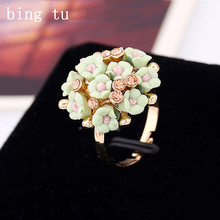 Bing Tu Summer Big Resin Flower Rings For Women Fashion Open Gold Color Blue Purple Finger Ring Bride Delicate Jewelry anel
