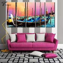 5 Panel Canvas Wall Art Venice Gondola Boat Print Painting Picture Italy City Scenery Modern Paintings For Room Walls No framed(China)