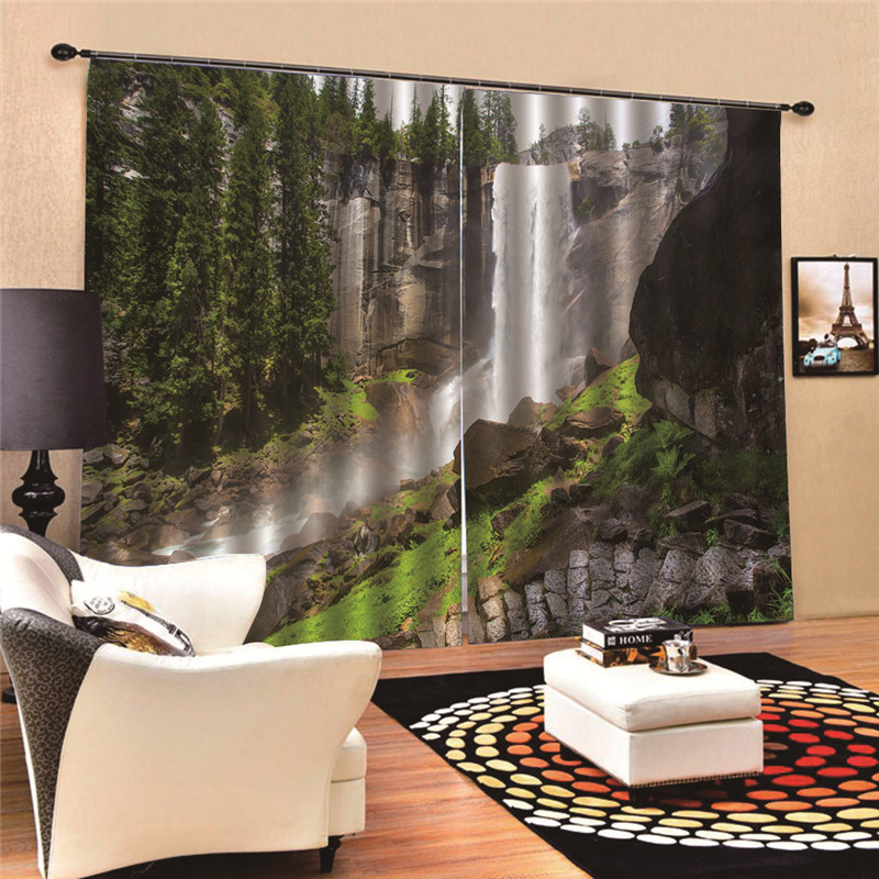 Landscape Curtains Bath Sheer panel for living room balcony organza fabrics European style window 3D Digital Print MA27