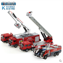 Hot sale Fire truck Set Kids Toy 1:50 car model alloy diecast Kaidiwei 620014 KDW Ladder truck Recovery vehicles boy gift 4pcs