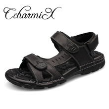 CcharmiX Big Size 38-46 Genuine Leather Men Sandals New Summer Walking Sandals for Man Fashion Brand Outdoor Male Casual Shoes(China)