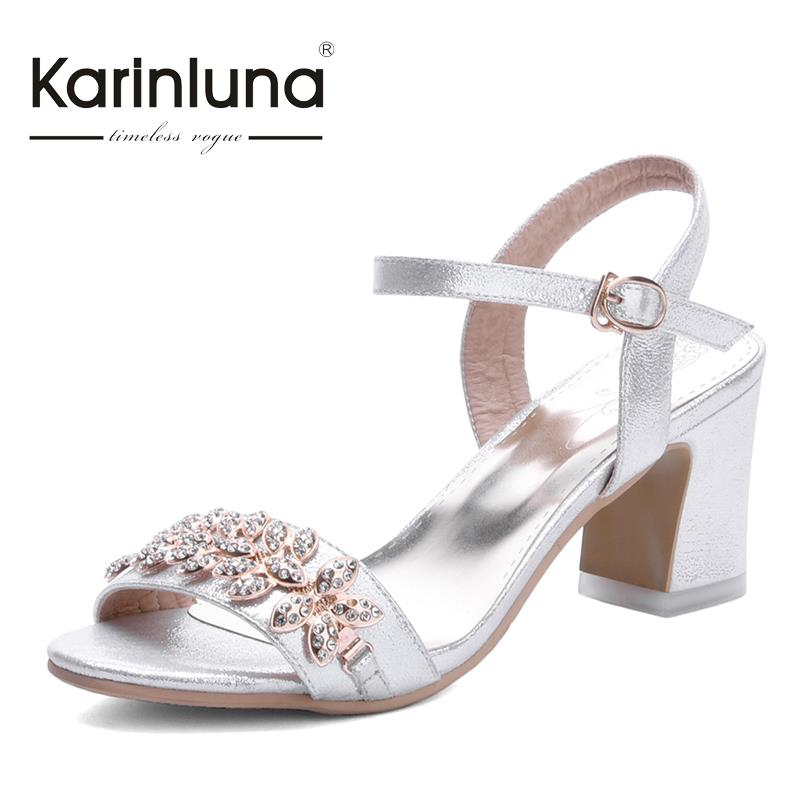2016 small big size 31-43 leaf style rhinestones peep toe women party shoes fashion square med heels lady summer sandals<br><br>Aliexpress