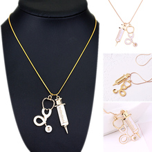 LNRRABC 1pc New Fashion White Women Pendant Necklace Medical Stethoscope Syringe Charm Novelty Jewelry