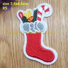 New arrival 10 pcs Christmas Boots Embroidered patches iron on cartoon Motif Applique RS fabric cloth embroidery accessory(China)