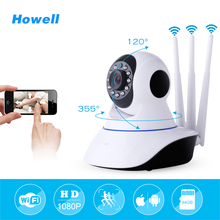 Howell Mini CCTV WiFi Camera IP 1080P Home Security Camera Wi-Fi P2P Two Way Audio Night Vision 3 Antennas Wireless Baby Monitor