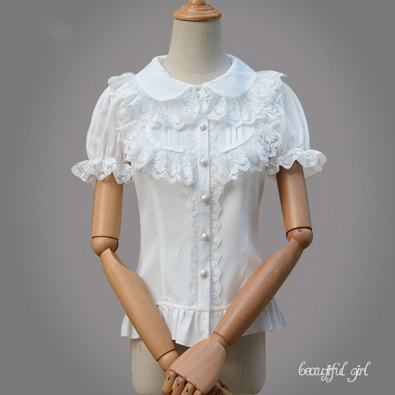 Summer Ladies White Black Short Sleeves Blouse Lolita Sweet Grace Chiffon Dollar Collar Lace Layer Slim Top Shirt For Women