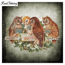 REALSHINING Full Square Diamond Embroidery Custom 5D Diy Diamond Painting Table Owl Tennis Mosaic Pattern Needlework FS466(China)