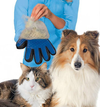 1Pc Amazing Deshedding Glove Tool Pet Grooming for Remove Cat Dog Dirt Hair Dander Five Finger Pet Massage Hair removal tools(China)