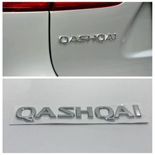 3D Letters Emblem Badge Car Tailgate Sticker For Nissan Qashqai Logo Chrome Silver Rear Nameplate Decal