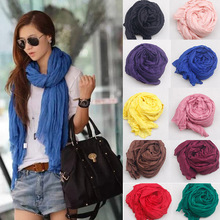 Hot Sale 2015 New Brand Fashion Cotton&Flax Blending Summer Scarf Women 170*45cm Solid Long Women's Shawl Cachecol Feminino