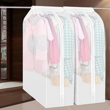 Wardrobe Clothes Storage Bag Garment Suit Coat Dustproof Cover Bag Protector Family Hanging Organizer M/L