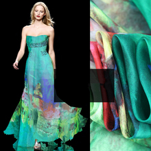 Europe Fashion 100% Pure Mulberry Silk Fabric silk fabric printed For Soft Scarf Dress Sewing materials(China)