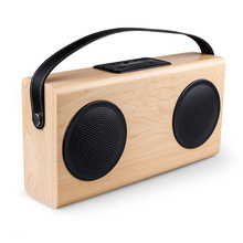 New wooden speaker altavoz bluetooth wood square Double Horn portable radio FM SD Power Bank hands-free call caixa de som free(China)